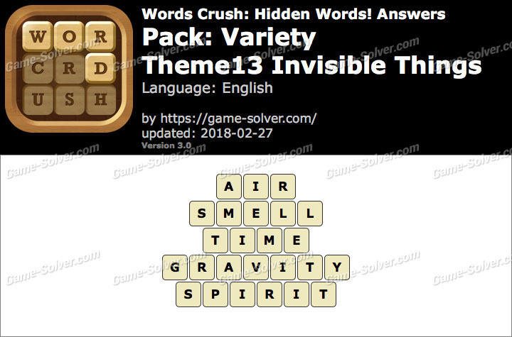 Words Crush Variety-Theme13 Invisible Things Answers