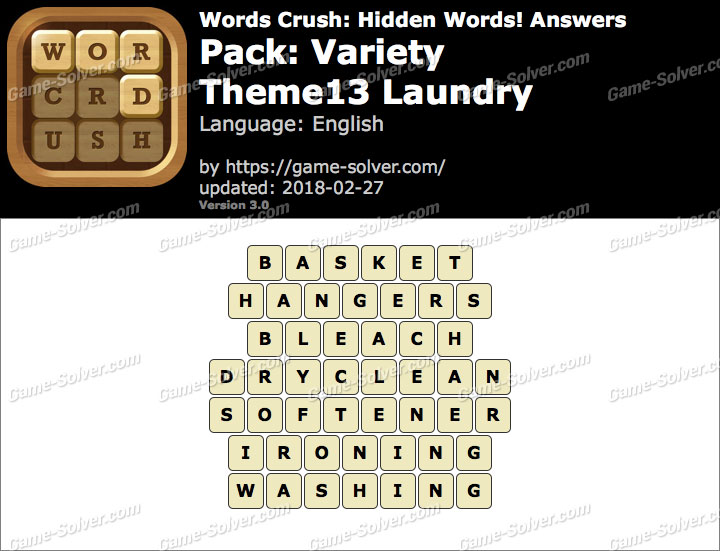 Words Crush Variety-Theme13 Laundry Answers