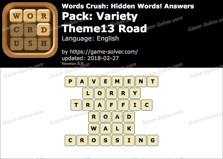Words Crush Variety-Theme13 Road Answers
