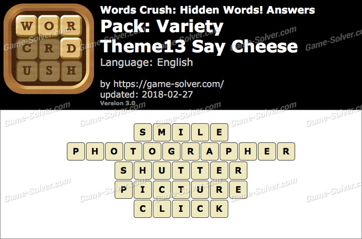 Words Crush Variety-Theme13 Say Cheese Answers