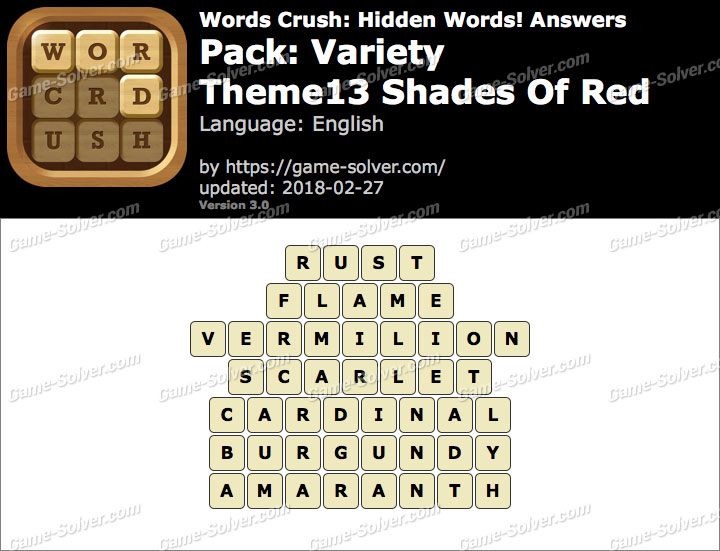 Words Crush Variety-Theme13 Shades Of Red Answers