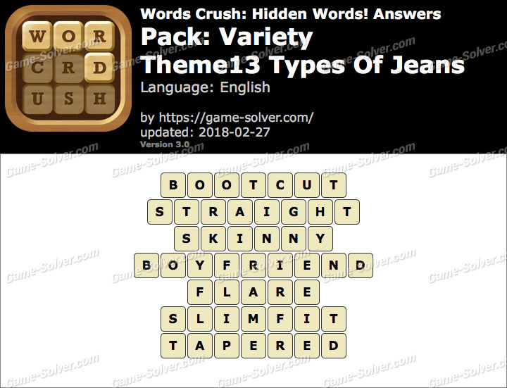Words Crush Variety-Theme13 Types Of Jeans Answers
