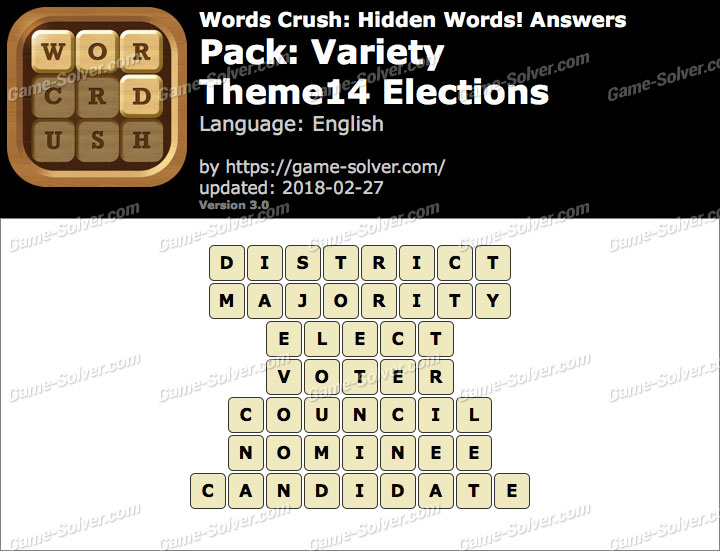 Words Crush Variety-Theme14 Elections Answers