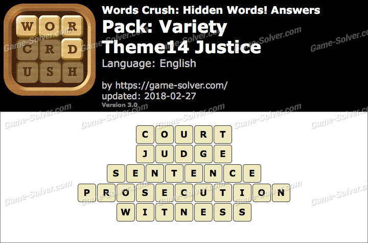 Words Crush Variety-Theme14 Justice Answers