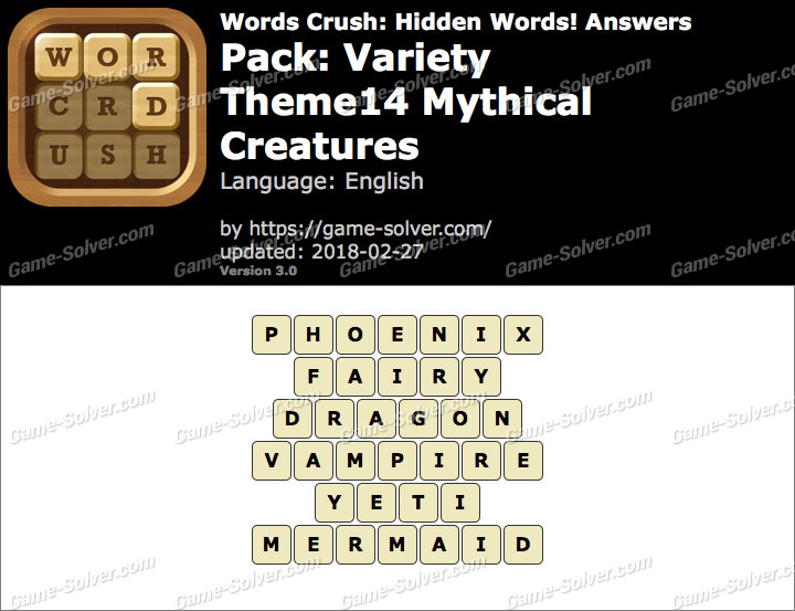 Words Crush Variety-Theme14 Mythical Creatures Answers