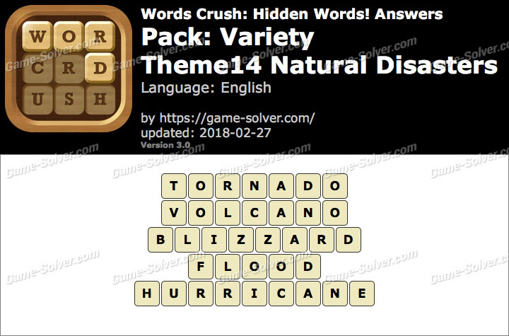 Words Crush Variety-Theme14 Natural Disasters Answers