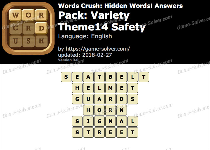 Words Crush Variety-Theme14 Safety Answers