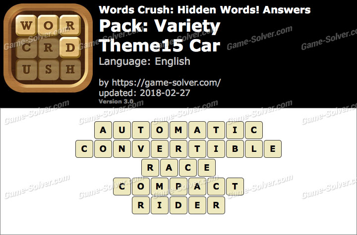 Words Crush Variety-Theme15 Car Answers