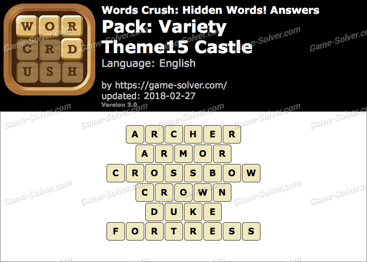 Words Crush Variety-Theme15 Castle Answers