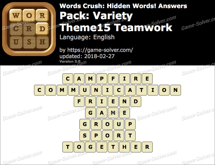 Words Crush Variety-Theme15 Teamwork Answers