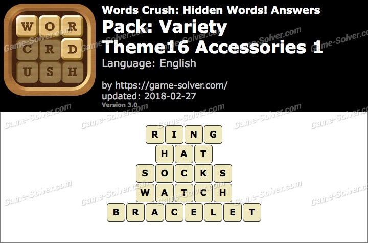 Words Crush Variety-Theme16 Accessories 1 Answers