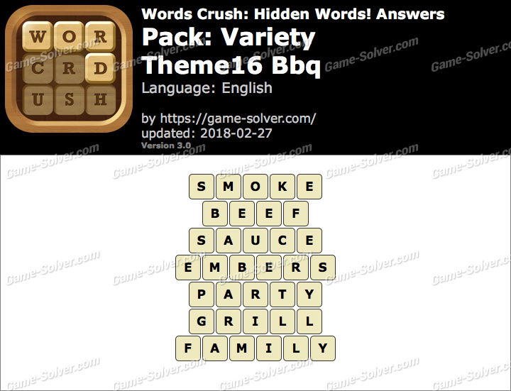 Words Crush Variety-Theme16 Bbq Answers