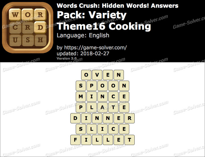 Words Crush Variety-Theme16 Cooking Answers