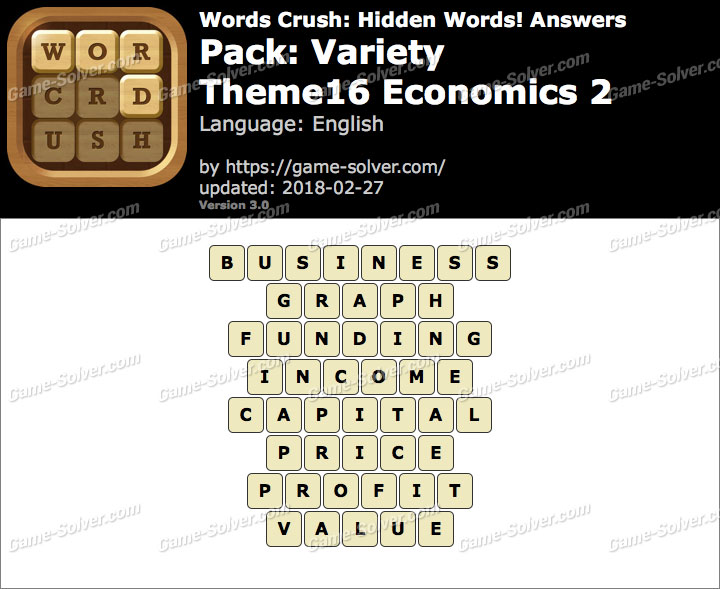 Words Crush Variety-Theme16 Economics 2 Answers