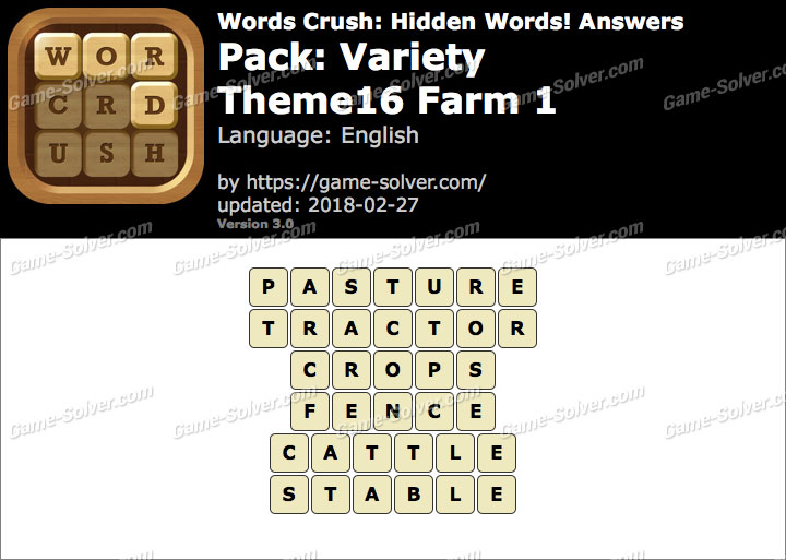 Words Crush Variety-Theme16 Farm 1 Answers