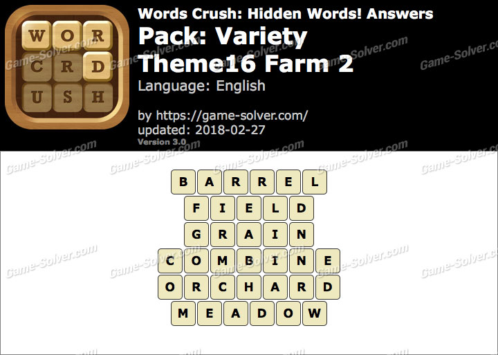 Words Crush Variety-Theme16 Farm 2 Answers