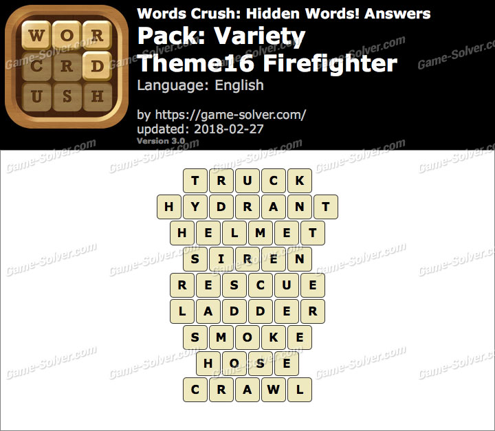 Words Crush Variety-Theme16 Firefighter Answers