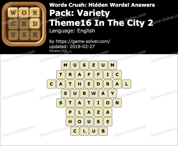 Words Crush Variety-Theme16 In The City 2 Answers