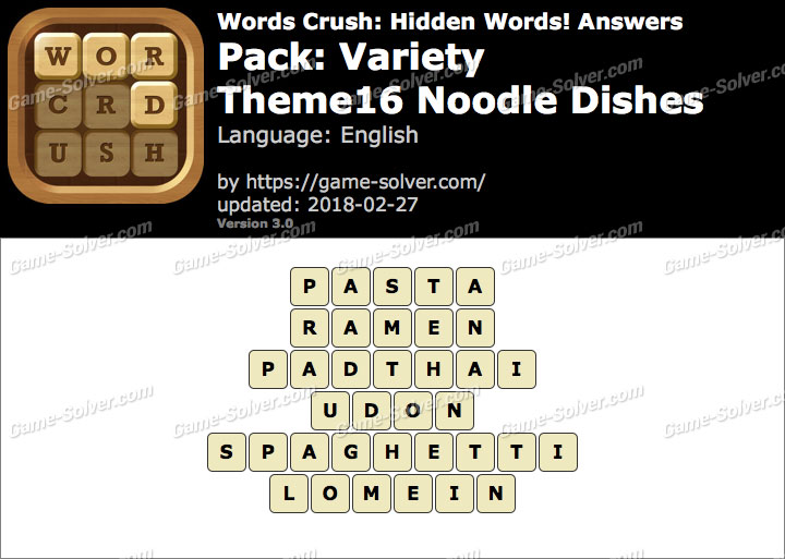 Words Crush Variety-Theme16 Noodle Dishes Answers