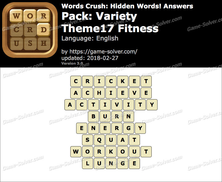 Words Crush Variety-Theme17 Fitness Answers