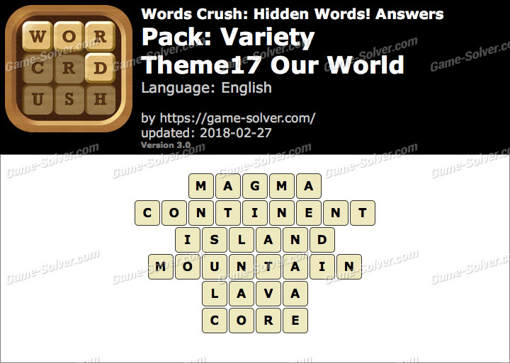 Words Crush Variety-Theme17 Our World Answers