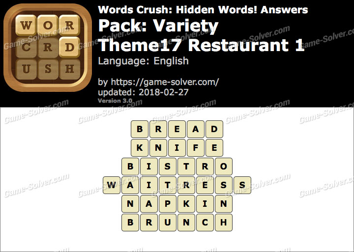 Words Crush Variety-Theme17 Restaurant 1 Answers
