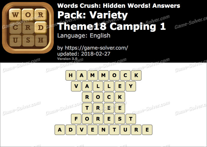 Words Crush Variety-Theme18 Camping 1 Answers