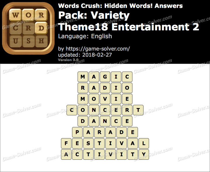 Words Crush Variety-Theme18 Entertainment 2 Answers