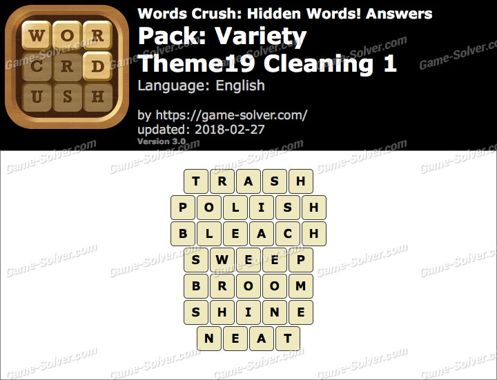 Words Crush Variety-Theme19 Cleaning 1 Answers