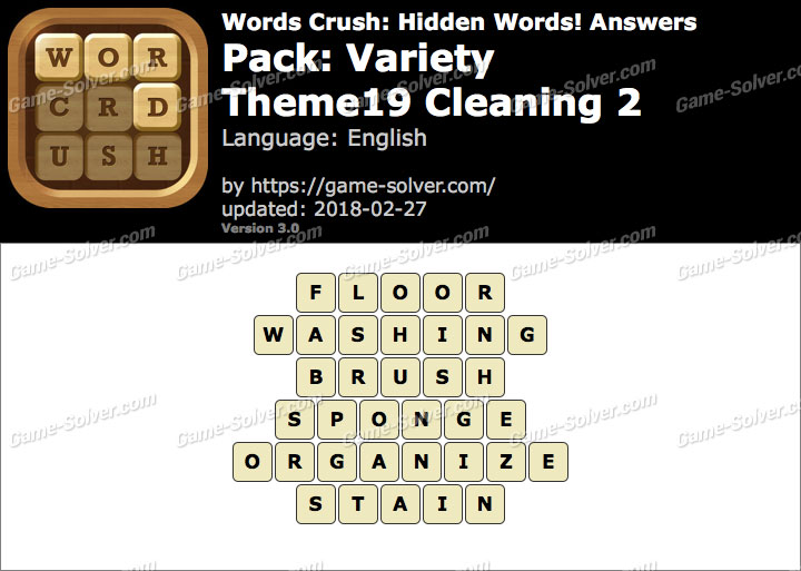 Words Crush Variety-Theme19 Cleaning 2 Answers
