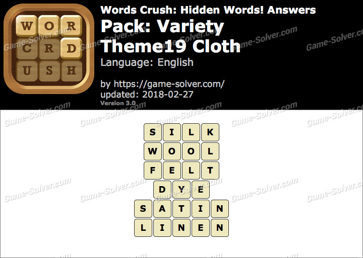 Words Crush Variety-Theme19 Cloth Answers