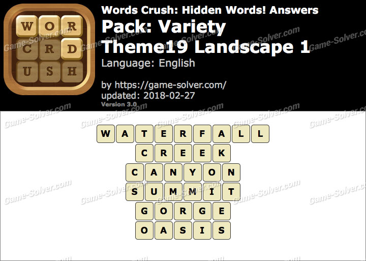 Words Crush Variety-Theme19 Landscape 1 Answers