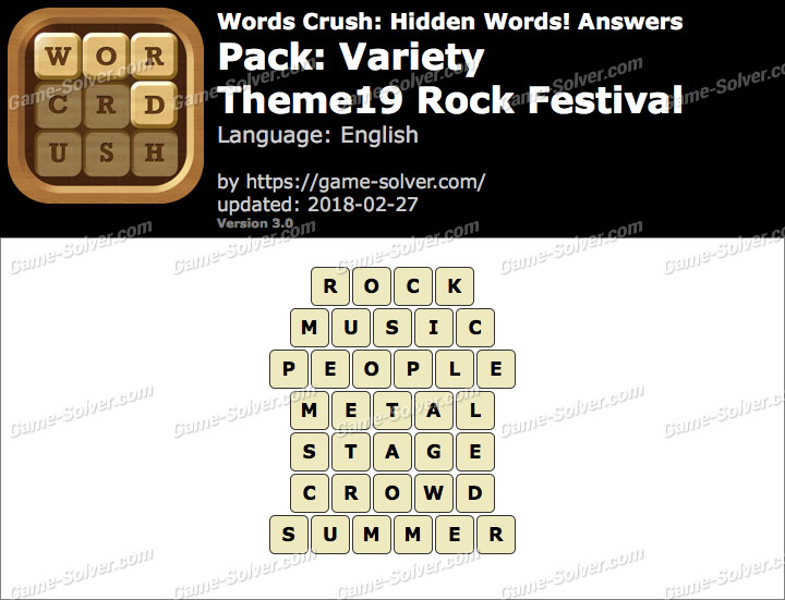 Words Crush Variety-Theme19 Rock Festival Answers