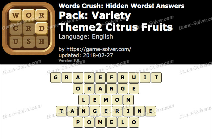 Words Crush Variety-Theme2 Citrus Fruits Answers