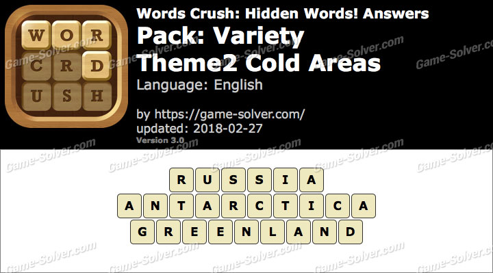 Words Crush Variety-Theme2 Cold Areas Answers