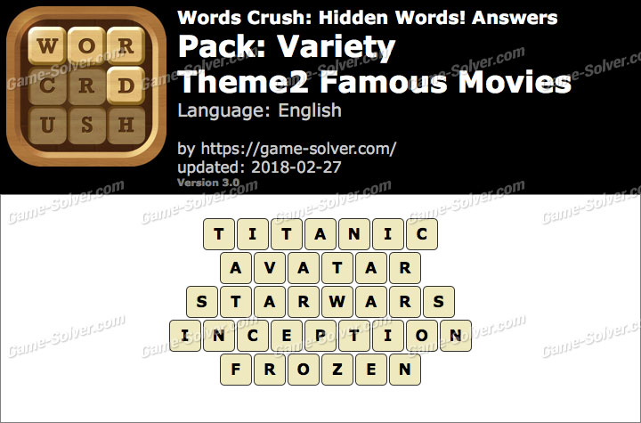 Words Crush Variety-Theme2 Famous Movies Answers