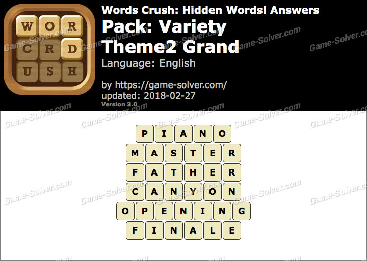 Words Crush Variety-Theme2 Grand Answers