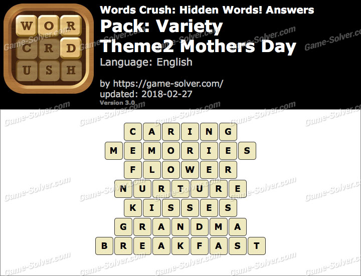 Words Crush Variety-Theme2 Mothers Day Answers