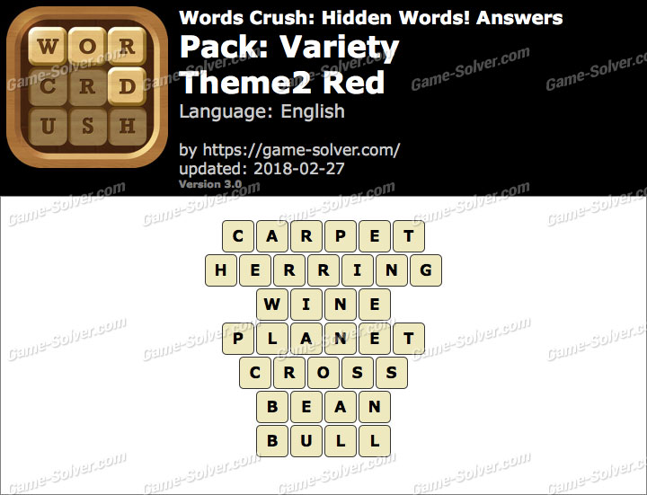 Words Crush Variety-Theme2 Red Answers
