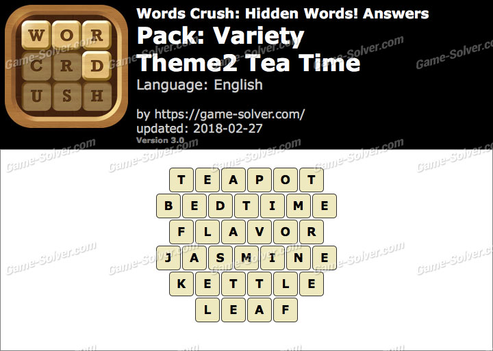 Words Crush Variety-Theme2 Tea Time Answers