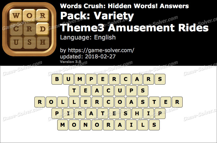 Words Crush Variety-Theme3 Amusement Rides Answers