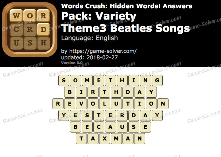 Words Crush Variety-Theme3 Beatles Songs Answers