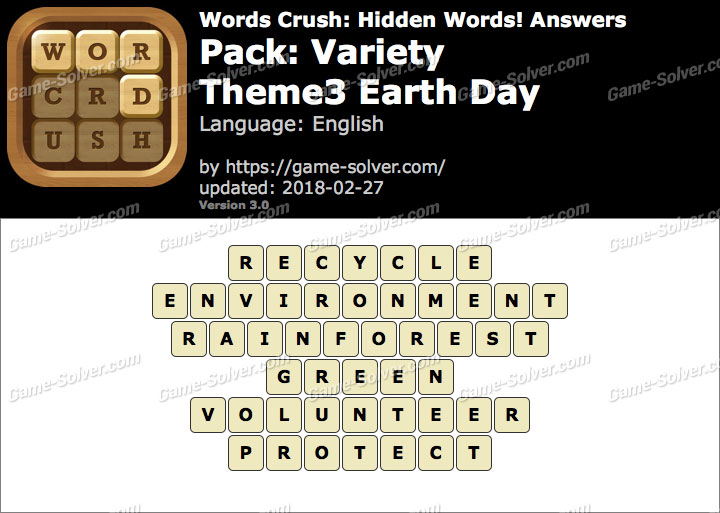 Words Crush Variety-Theme3 Earth Day Answers