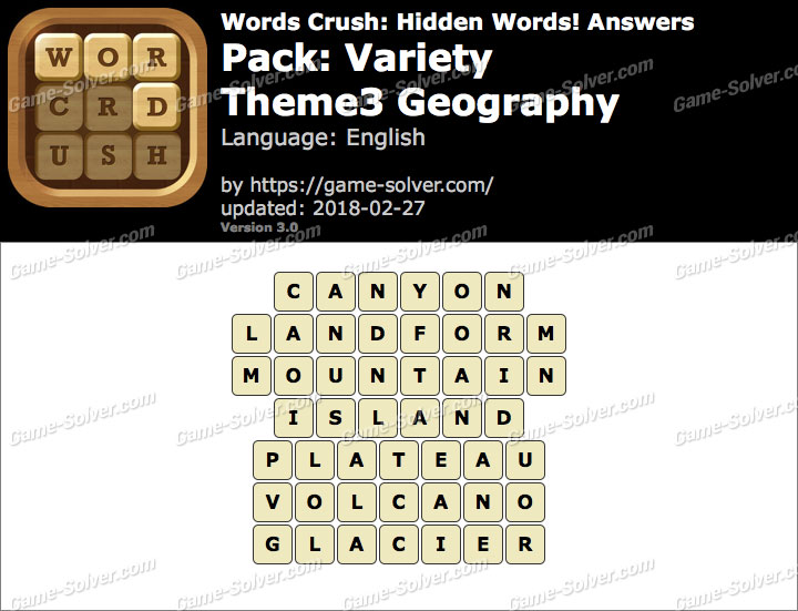 Words Crush Variety-Theme3 Geography Answers