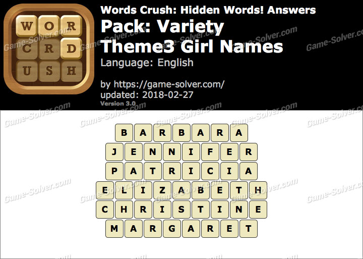 Words Crush Variety-Theme3 Girl Names Answers