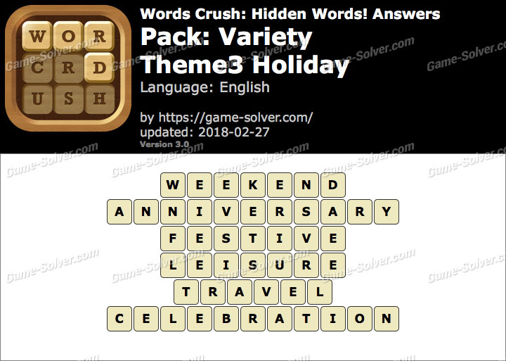 Words Crush Variety-Theme3 Holiday Answers