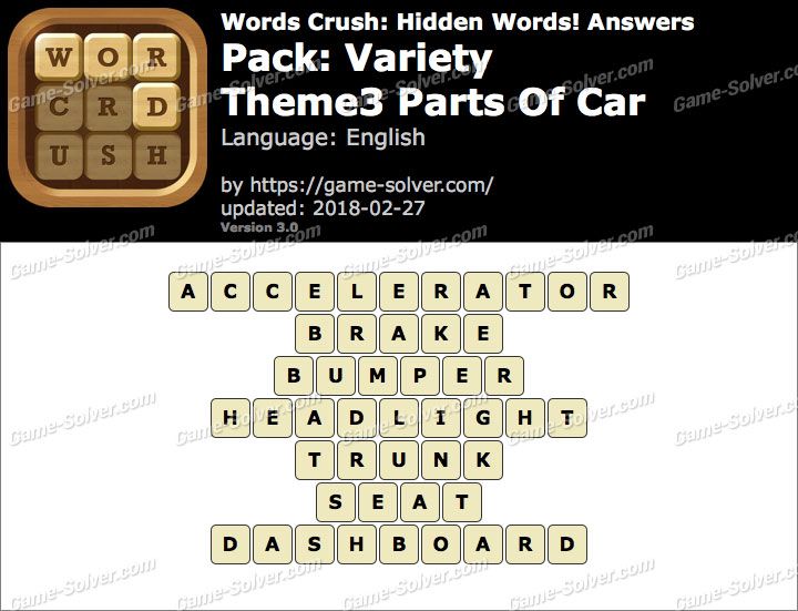 Words Crush Variety-Theme3 Parts Of Car Answers