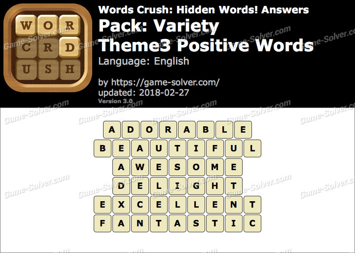 Words Crush Variety-Theme3 Positive Words Answers