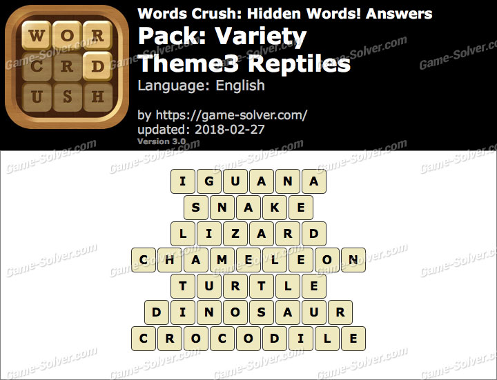 Words Crush Variety-Theme3 Reptiles Answers