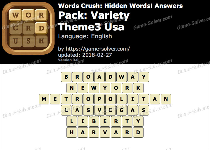 Words Crush Variety-Theme3 Usa Answers